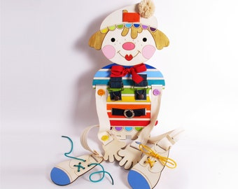 LACING TOY, Gift Idea for Boys and girls, Small Motors Practice, Lacing Toy, For Boys, For Girls, Clown wooden doll,