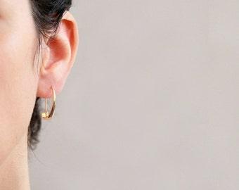 Gold hoop Earrings  ,  Gold and Silver   earrings , 18K gold plated ,  Sterling silver , dangle earrings , gift for her , Christmas gift