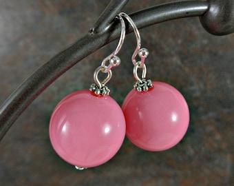 Gumball Earrings, Round Bead Earrings, Pink, Chunky Earrings, Drop Earrings, Dangle Earrings, Silver, Pink Earrings, Ball Earrings