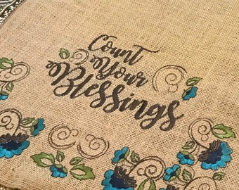 "Embroidered Burlap Table Runner ""Count Your Blessings"" on both ends - 12"" by 60"" - Thanksgiving"