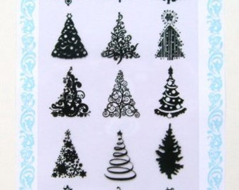 """Small Pine Trees // Clear stamps pack (4""""x7"""") FLONZ"""