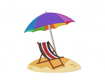 Fourth of July red white and blue beach chair umbrella embroidery design