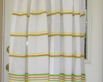 Vintage 70s Curtains, White with Orange, Yellow, Green Fuzzy Ribbon, 2 Panels, 34 1/2in Wide x 35in Long