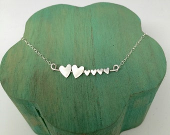 Family of Six - Hearts Sterling Silver Necklace