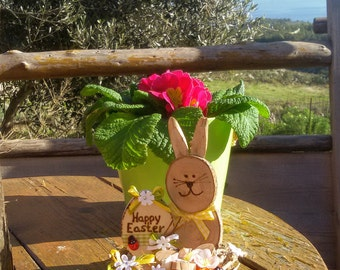 Easter Bunny with Easter egg made of olive wood slices, handmade