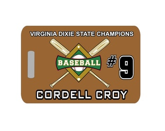 Baseball Luggage Tag - Crossed Bats, Baseball Luggage Tag, Baseball Tag, Baseball Bag Tag, Team Tag, Personalized Bag Tag