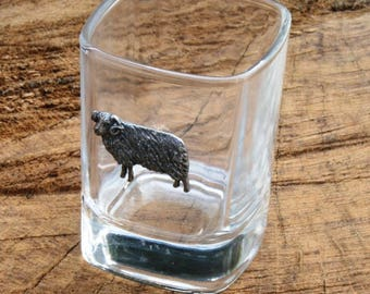 Pair of Aries The Ram Shot Glasses Crystal with Pewter Motif Fire Star Sign Gift