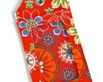 Fabric Luggage Tag - ID Tag - Luggage Tag - Orange - Floral - Party Favors - Shower Favors - Travel Gift