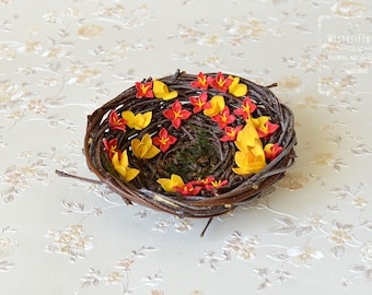 Ring Bearer Pillow Bird Nest Boho Orange Wedding Nest Woodland Autumn wedding bridal accessory Romantic ring holder Wedding bearer pillow