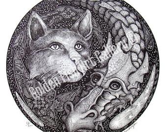 "Cat & Dragon - Art Print - 12"" Diameter Print by John Longendorfer, Cat Art, Dragon Art, Fantasy Art, Medieval Art, Dragon Drawing"
