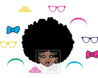 Focsi Girl with an Afro and Accessories SVG PNG