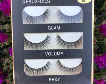 3 pair of natural lashes