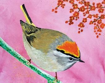 """Bird """"Golden Rooster"""" in acrylic 40x40 cm"""