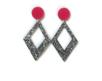 Pink and Silver Diamond Shaped Dangle Earrings  - Glitter - Retro, Mod, Vintage Style  - Laser Cut Acrylic - Geometric Drop Earrings