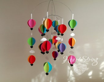 Baby Mobile, Bright Nursery, Hot Air Balloon Baby Mobile, Gender Neutral, New Baby Gift, Nursery Decor,   Juicy