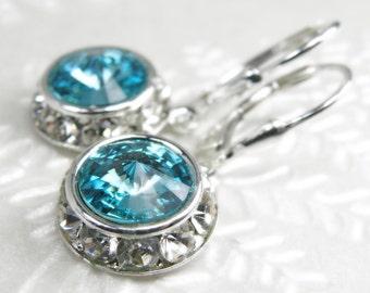 Teal Crystal Earrings, Sterling Silver, Aquamarine Light Turquoise Swarovski Drop Bridesmaid Wedding Jewelry, March Birthstone Birthday Gift