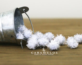 "20 pcs Silver and white Tinsel Pom Poms 1/2"" DIY"