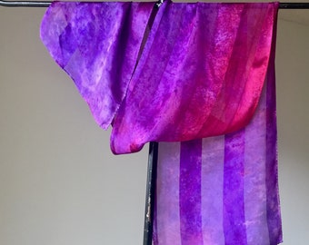 Ultraviolet and Red Hand Painted Silk Scarf, Spring Fashion Satin Stripe Day Scarf, Shawl, Gift for Her, Travel Wardrobe Accessory