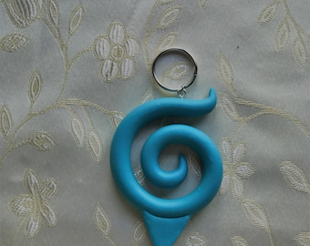 Naruto Hidden Leaf Village Symbol-Keychain-necklace (Turquoise)