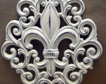 Fleur de lis Ornate Decorative Cast Iron Painted Off White Cream FDL Wall Decor French Decor Paris Shabby Elegance