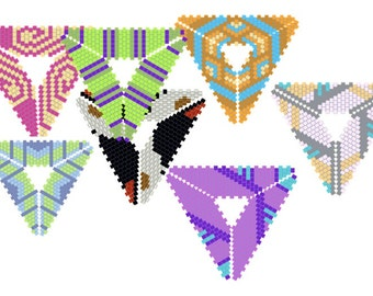 Seven Beadweaving Graphs for Peyote Triangle shapes: Instant Downloadable Pattern PDF File