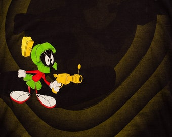 Marvin the Martian T-Shirt, All Over Full Print, Vintage 1990s, Warner Bros Looney Tunes, WB Cartoon, Wild Oats, 1992