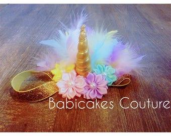 Unicorn Headband, Unicorn Feather Headband, Gold Unicorn Headband, Unicorn Baby Headband, Unicorn 1st Birthday, Unicorn Party Favor