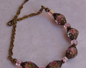 Victorian Style Clear and Rose Bead Bracelet, Antique Style, Vintage Style, Filigree Pink Bead Bracelet, Chain Bracelet