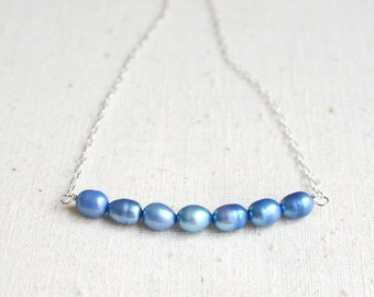 Blue Pearl Necklace, Bridesmaid Jewelry, Blue Necklace