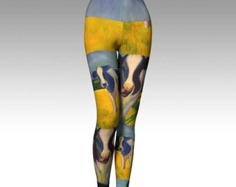 "Pretty Fun Leggings/ Yoga/ Pants from PastelArt ""My Mother was a cow""  Leggings"