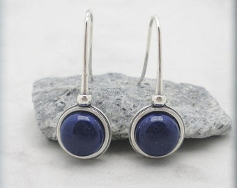 Lapis Lazuli Earrings, Blue Gemstone, Natural Stone, Sterling Silver Jewelry, Blue Lapis Lazuli Jewelry, Blue Stone Earrings