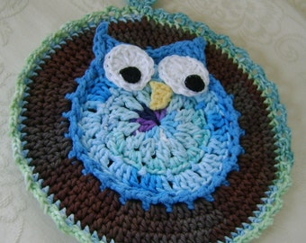 Whooo's Cooking - Crocheted Blue Owl Hot Mat Trivet Pot Holder Protects Your Hands, Table, or Serving Surace