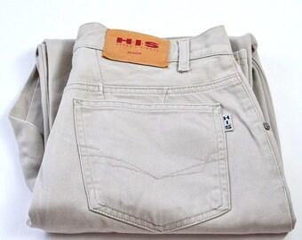 Vintage 90's Henry I Siegel Denim High Waisted Beige Mom Jeans W31 L29 Medium 14
