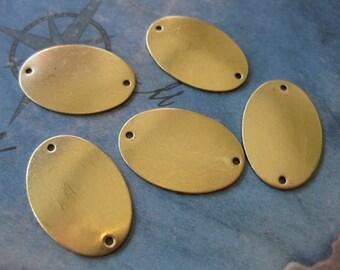 4 PC Brass oval blank tag / charm 16 x 24 mm - UU16
