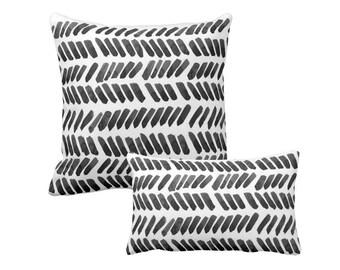 Watercolor Pillow Black White Dashes Brushstrokes Paint Strokes Tribal Pillow Boho Decor Minimalist Pillow Abstract Pillow Geometric Dots