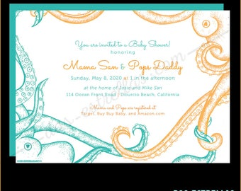OCTOPUS FAM / Gender Neutral Baby Shower Invitations or Birth Announcements