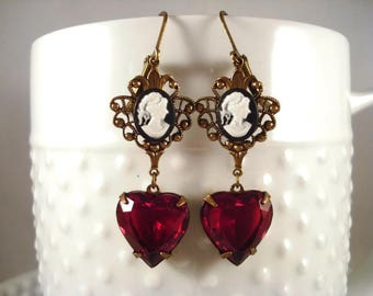 Red Heart Earrings Cameo Earrings Victorian Heart Jewelry Heart Earrings Valentine Gift