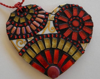 Red Gold Heart Mosaic Ornament, Mother's Day Gift, Christmas Ornament, Gift for Godmother, Bridal Shower Gift, Engagement Gift