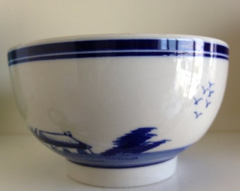 Vintage 1950s Hand Painted Porcelain DELFT Bowl Round Candy dish bowl with windmills