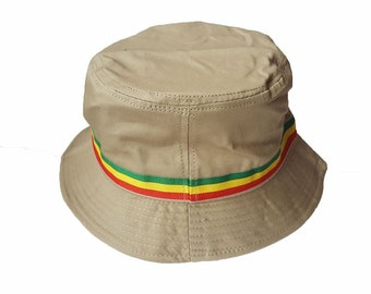 Wigwam Cool Rasta stripe Cotton Bucket hat Beige