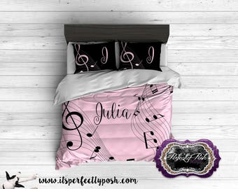 Music Notes Themed for boys or girls Bedding Custom Design and Personalized Comforter or Duvet with Monogram