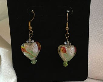 Earrings dangle clear glass hearts with foil, flower and leaves