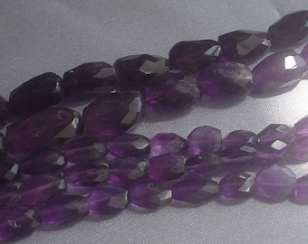 natural gemstone faceted purple amethyst nugget 10-16 mm / 14 inch