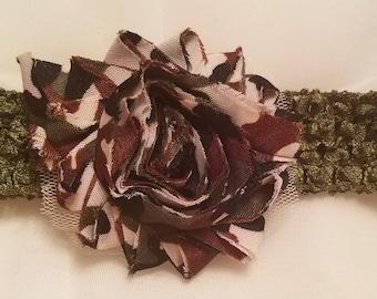 Handmade crochet shabby flower camo headband