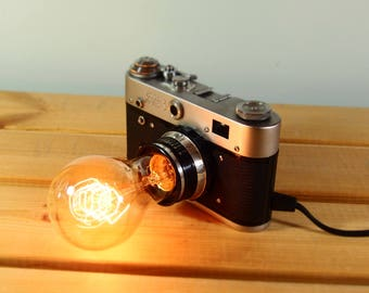 Vintage Camera Lamp, antique, recycled, upcycled, wedding gift, steampunk, Harry Potter