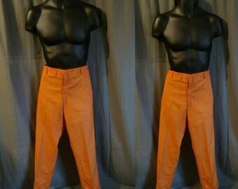 Vintage 1960s Flat Front Pants in Orange / 60s Cuffed Orange Slacks - Cotton - Soil Resistant Size 35 Waist