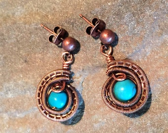 Antiqued Copper Wire Weave and Turquois Earrings