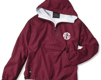 Cardinal Red Monogram Personalized Half Zip Rain Jacket Pullover - 11 colors, Monogram Rain Jacket