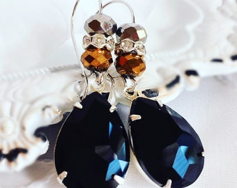 Black Stone Earrings - Crystal Earrings - Dangle Earrings - Mixed Metal Earrings - KISMET Jet