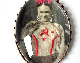 Frida Kahlo hand embroidered brooch